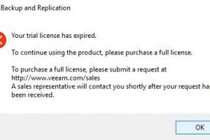 Veeam License Expired Error Message