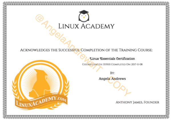 Linux Academy Completion Certificate- Linux Essentials