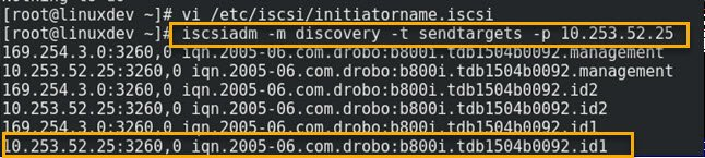 iscsiadm discovery command