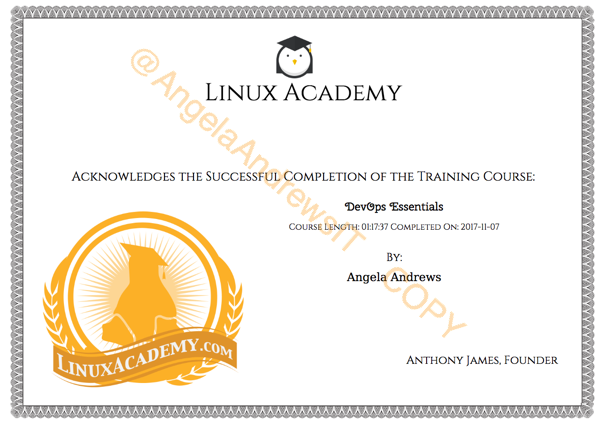 Linux Academy Completion Certificate- DevOps Essentials