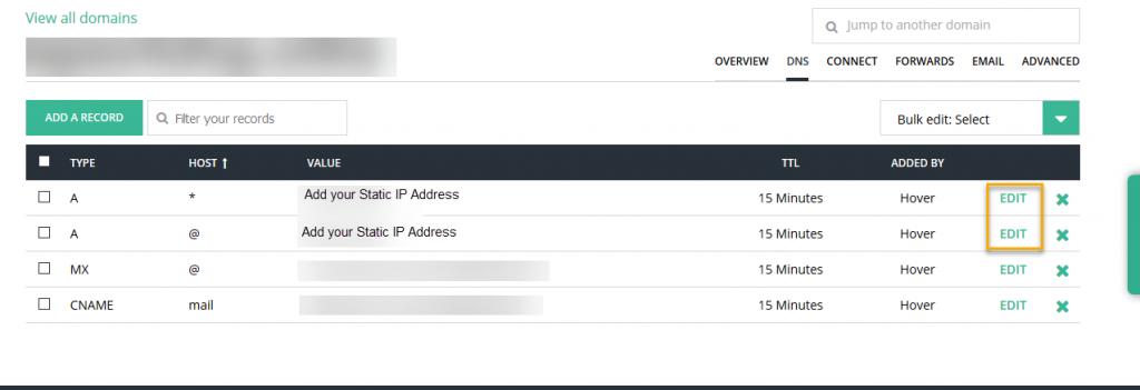 Hover Console - DNS Records